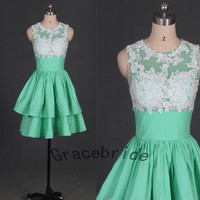 mint taffeta dress with white lace homecoming dresses elegant round neck prom dress short bridesmaid gowns charming custom party dress hot