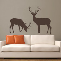 Wall Decal Vinyl Sticker Decals Art Decor Design Elk Deer Woodland Hunting Horns Animal Gift for Man Bedroom Modern Dorm Fashion Style(r688)