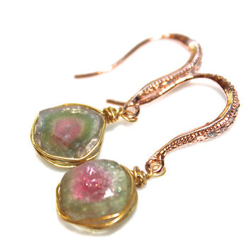 Raw Watermelon Tourmaline Slice Earrings Tourmaline Earrings Rustic Earrings Tourmaline Jewelry Rose Gold Earrings Simple Earring FizzCandy