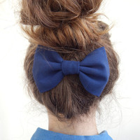 Dark Blue Hair Bow - Fabric Hair Clip - Midnight Blue Female Bow -Girls Hair Clip Bow - Spring Hair Accessories - Clip on Hair Bow
