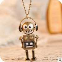 Vintage Robot Long Chain Pendant Necklace at Online Jewelry Store Gofavor