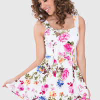 Adele Floral Dress - White