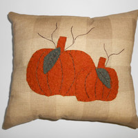 Primitive Pumpkin Pillow, Wool Felt Pillow, Applique Pumpkin Pillow, Fall Pillow, Fall Decor, Shelf Sitter Pillows, Prim Pillow