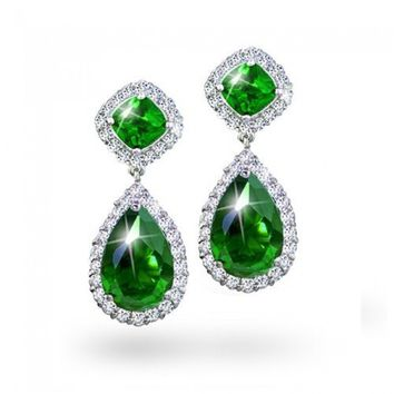 Bling Jewelry Emerald Green Color CZ Teardrop Pave Dangle Earrings | Bling Jewelry