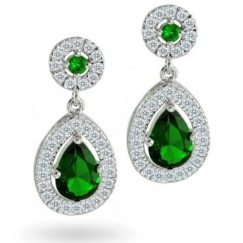 Bling Jewelry Crown CZ Emerald Color Bridal Teardrop Earrings | Bling Jewelry