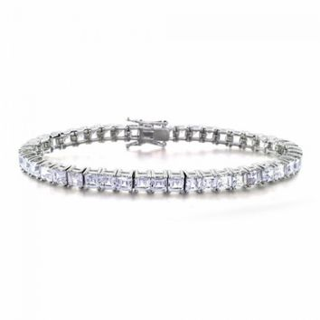 Bling Jewelry Cubic Zirconia Asscher Cut Bridal Tennis Bracelet | Bling Jewelry