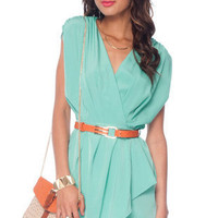 New Colors on the Block Belted Dress in Mint :: tobi