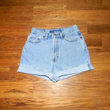 Vintage Denim Cut Offs - 90s Classic Light Stone Washed Jean Shorts - High Waisted/Frayed/Rolled Up GAP Shorts Size 8/10