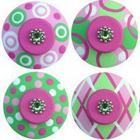 Hand Painted Drawer Knobs SET of 8 Hot Pink Lime Green | LisaEverettDesigns - Children's on ArtFire