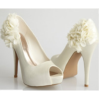 Allure Bridals-Sleek Ivory Satin Flower Peep Toe Heel - Unique Vintage - Cocktail, Evening, Pinup Dresses