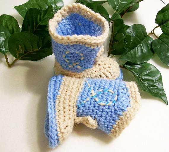 Baby Booties Cowboy BootsBlue and lt Tan03M by togs4tots on Etsy