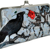 The Raven Printed Edgar Allan Poe LARGE clutch by BabaStudioPrague