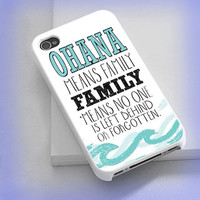 Cover phone case stitch ohana quote for iPhone 4/4s, iPhone 5/5s/5c, iPod 4/5, Samsung Galaxy s3/s4