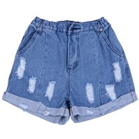 ZLYC Women's Loose Fit Elastic Mid Waist Cuffed Ripped Denim Shorts