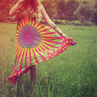 Hot Pink Hippie Dress Red Long Bohemian Tapestry by Cloud9Jewels