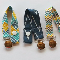 Pacifier Clip Set of THREE Modern Baby Boy Pacifier Clips - Indie Chic by Riley Blake