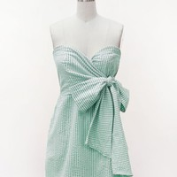 Judith March preppy bow seersucker dress