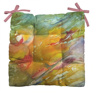 Rosie Brown Abstract 2 Outdoor Seat Cushion