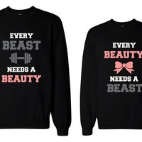365 In Love His and Her Beauty and Beast Need Each Other Matching Sweatshirts for Couples