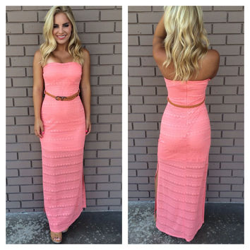 Thrill of Brazil Strapless Maxi Dress - CORAL