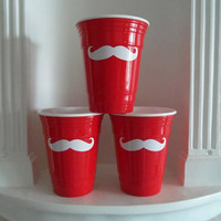 Mustache Glasses - Red Solo Cup - Pink, Reusable Double Wall Insulated,Housewares, Father's Day  Gifts, Cups & Mugs, Mustache Glass,Mustache