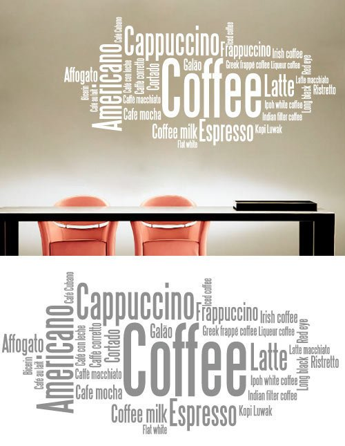 Kitchen wall art - Coffee Typography - Wall Decals , Home Art and ...