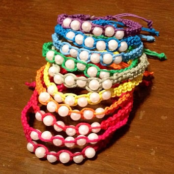 Multicolor pearl adjustable hemp bracelets, set of 2, choose your colors
