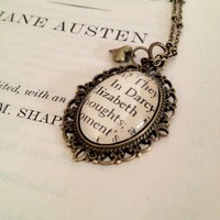 Elizabeth And Mr. Darcy Pride And Prejudice Book Page Necklace | Luulla