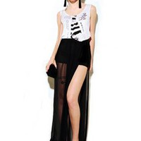 Black Cocktail Dress - Bqueen Long Skirt with Splits | UsTrendy