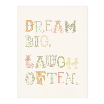 Dream Big Laugh Often whimsical poster print by nutmegaroo on Etsy