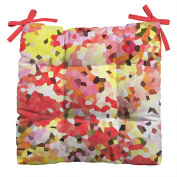 Rosie Brown Blooms Outdoor Seat Cushion