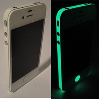 TCD Glow in the Dark Vinyl Bumper Side Sticker Skin Wrap for Apple iPhone 4 4S