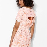 JOA Lace-Up Back Layered Floral Lace Dress - Urban Outfitters
