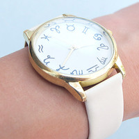 Zodiac Face Wrist Watch in White