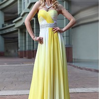 Brilliant Gradient Chiffon Empire Silhouette Sweetheart Neckline Prom Dress