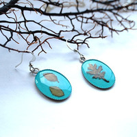 Pressed Leaf Earrings Turquoise Miniature by NaturalPrettyThings