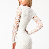 DEEP V NECK LACE DRESS