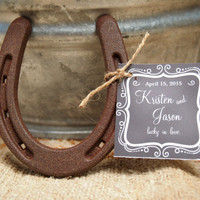 24 - Lucky Horseshoe Wedding Favors - Personalized Chalkboard Tag Design - Rustic Favors // Rustic Bridal Shower // Cowboy Shower Favors
