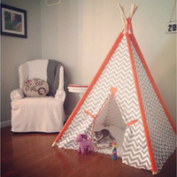 "Gray and Orange Chevron Tent 44"" Size with accent sleeves or Pick your color Teepee play fort Made to Order Tents"