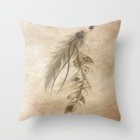 Bohemian Feather Throw Pillow by LouJah | Society6