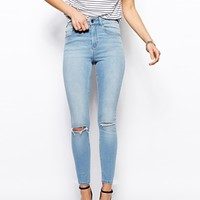 ASOS Ridley High Waist Ultra Skinny Ankle Grazer Jeans in Watercolour Light Wash Blue with Ripped Knees