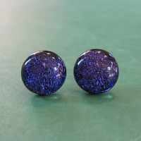 Dichroic Blue Earrings | Blue Purple Post Earrings | Hypoallergenic Studs | Jewelry | Modern Jewelry  - Westerly - 2393 -4