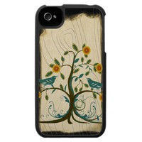 Vintage Teal Birds Branch iPhone Case from Zazzle.com