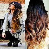 Ombre Clip In Hair Extensions / SUNRISE OMBRE /  Balayage / Natural Human Hair / Body Wave Texture / 10 Piece Clip In Set