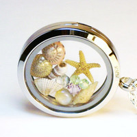 Glass Locket Necklace ~ Starfish, Sea Shells, Crystals ~ Ocean Beach Jewelry