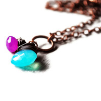 Blue And Purple Necklace Chalcedony Antique Copper Wire Wrapped Gemstone Light Sky Grape | Luulla