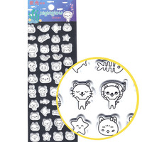 Cute Kitty Cat Outline Drawing Shaped Animal Themed Puffy Glow In The Dark Stickers