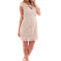 Mint Dress With Beige Lace Overlay