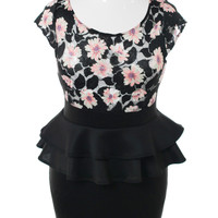 Plus Size Flower Art Mesh Peplum Black Dress, Plus Size Clothing, Club Wear, Dresses, Tops, Sexy Trendy Plus Size Women Clothes