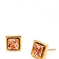 Square Drusy Studs in Rosegold - Rosegold